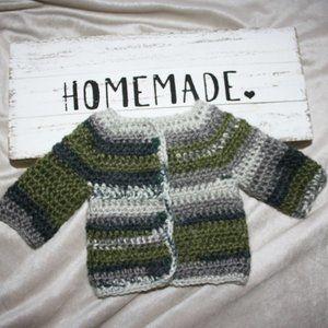 Handmade Alpaca wool Baby Sweater 0-3 Months Green